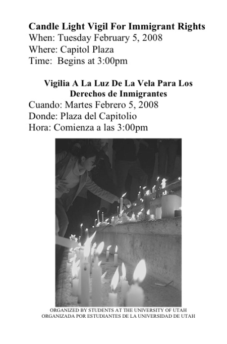 Candlelight Vigil for Immigrant Rights flier
